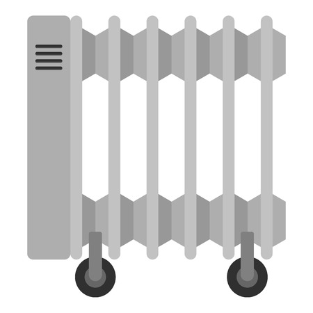 White electric heater on wheels icon isolated