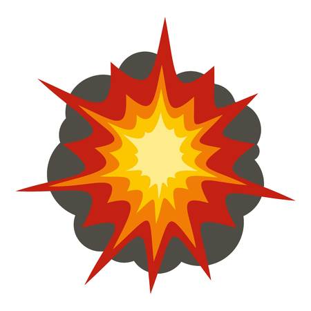 Fire explosion icon flat isolated on white background vector illustration