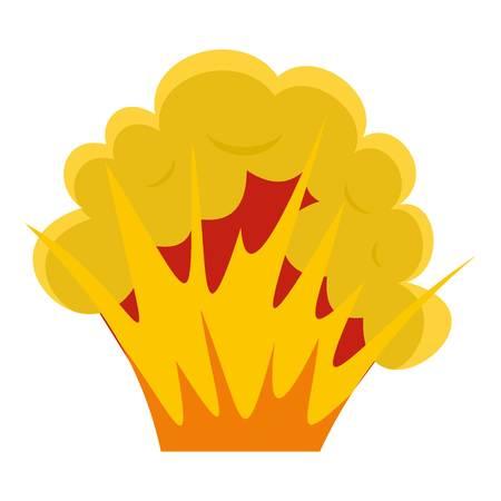 bombe atomique: Icône de flamme et de fumée isolé
