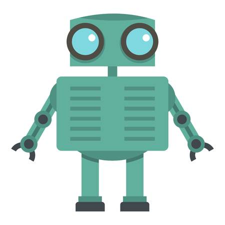 Steel robot icon flat isolated on white background vector illustration