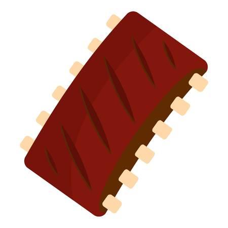 Gegrilde varkensvlees vlees pictogram plat geïsoleerd op witte achtergrond vector illustratie