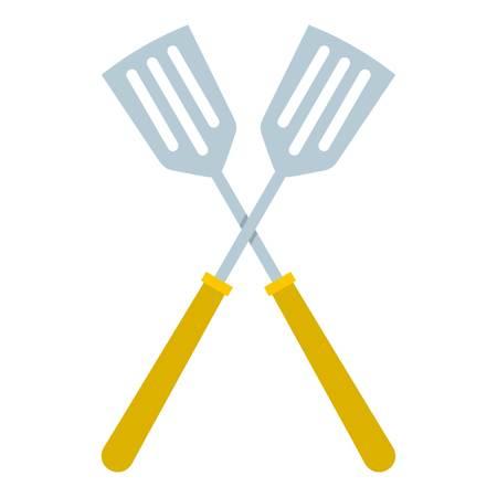 Crossed metal spatulas icon isolated