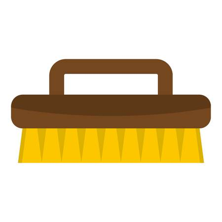 Wooden scrub brush icon isolated