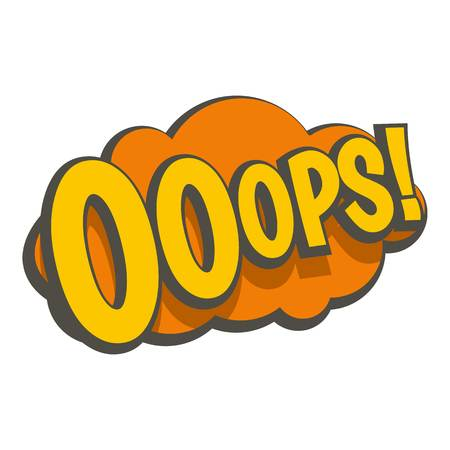 ooops: OOOPS, comic text speech bubble icon isolated Illustration