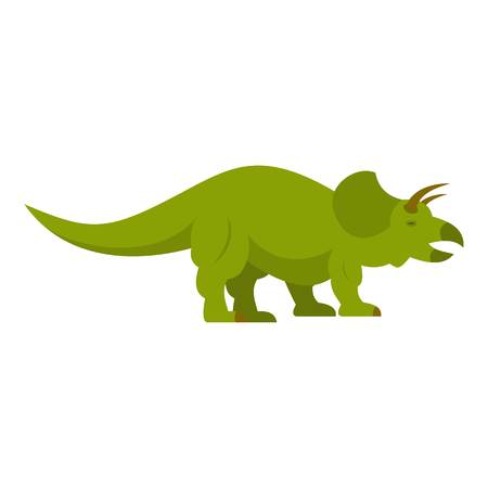 Green styracosaurus dinosaur icon isolated