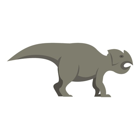 cretaceous: Grey ceratopsians dinosaur icon isolated