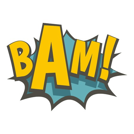 BAM, comic book explosion icon flat isolated on white background vector illustration