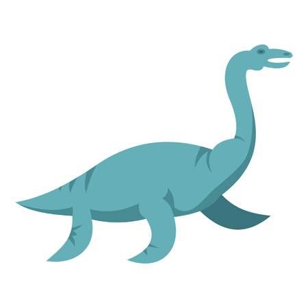 Blue elasmosaurine dinosaur icon flat isolated on white background vector illustration