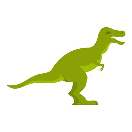 cretaceous: Green theropod dinosaur icon flat isolated on white background vector illustration
