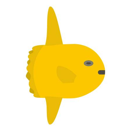 Small yellow fish icon isolated