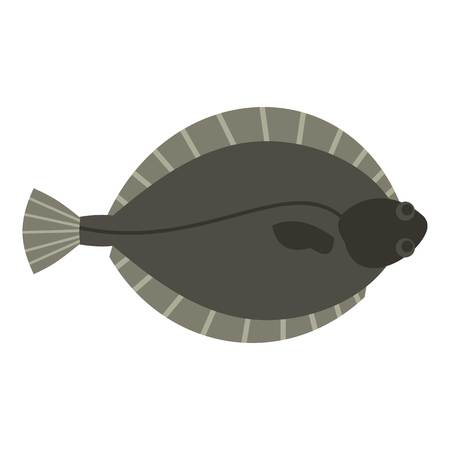plaice: Flounder fish icon isolated