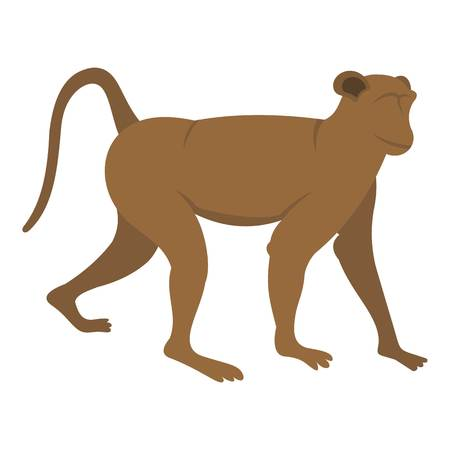 Brown monkey icon isolated
