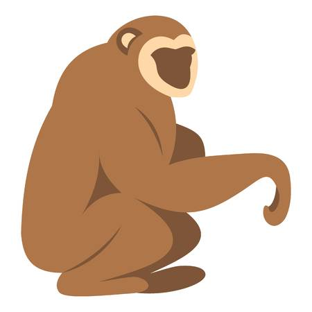 Sitting monkey icon isolated Illustration