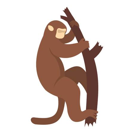 genus: Macaque is climbing up on a tree icon isolated