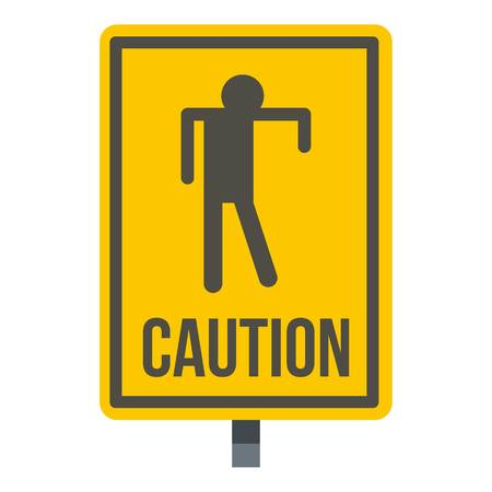 disgusting: Yellow caution zombie sign icon isolated Illustration