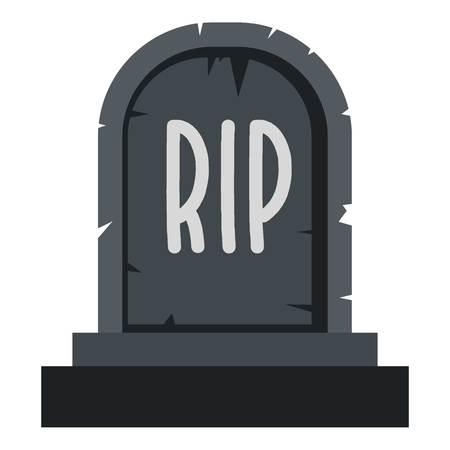 Stone tombstone rip icon flat isolated on white background vector illustration Illustration