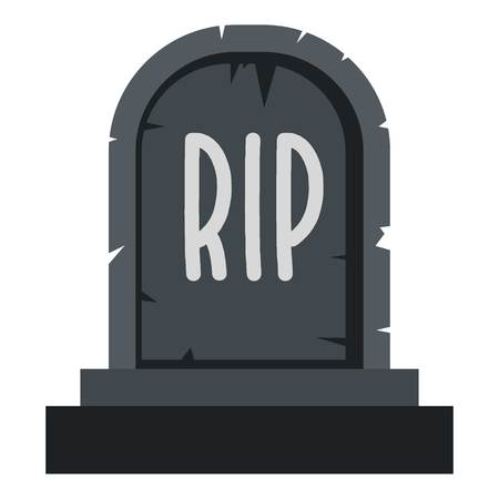 Stone tombstone rip icon flat isolated on white background vector illustration