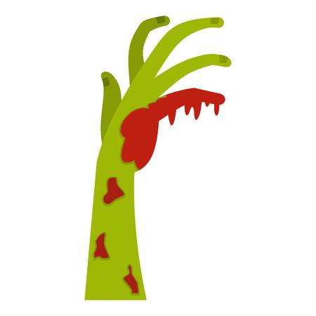 Zombie green bloody hand icon flat isolated on white background vector illustration
