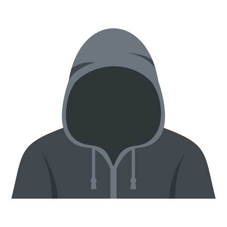 Figure in a hoodie icon flat isolated on white background vector illustration Illustration