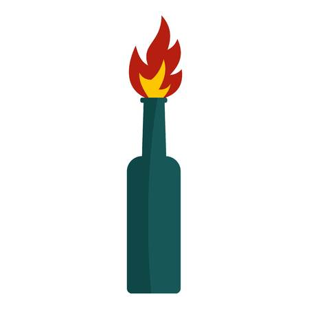 fueled: Fire bottle icon flat isolated on white background vector illustration