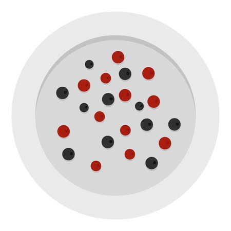 Red and black peppercorns icon isolated