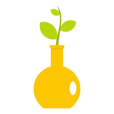 Green plant in a yellow vase icon isolated Illustration