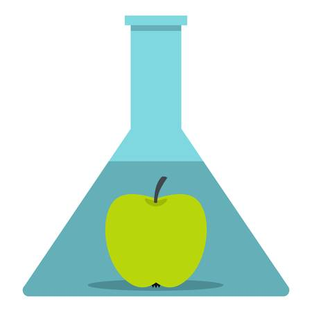apple gmo: Green apple in glass test flask icon isolated