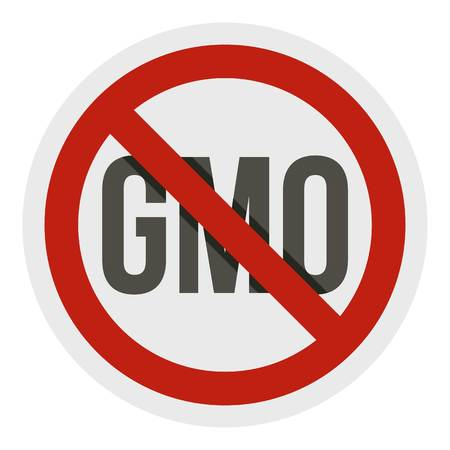 Stop GMO, red prohibition sign icon isolated