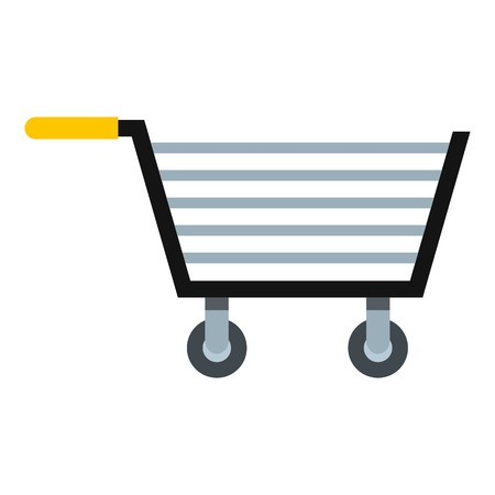 Empty steel trolley icon isolated