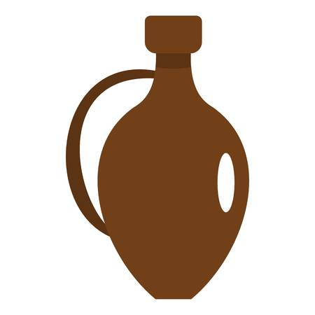 Clay wine jug icon flat isolated on white background vector illustration Illustration