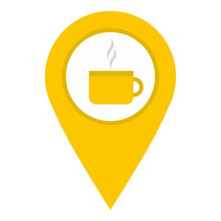 Yellow map geo tag with tea or coffee cup icon flat isolated on white background vector illustration.