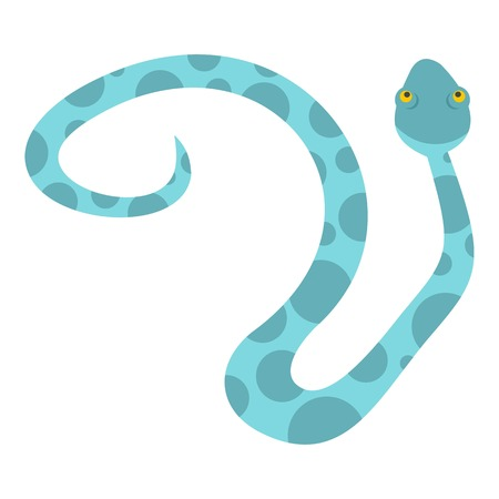 Light blue spotted snake icon flat isolated on white background vector illustration.