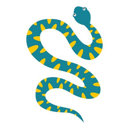 Blue snake with yellow spots icon isolated