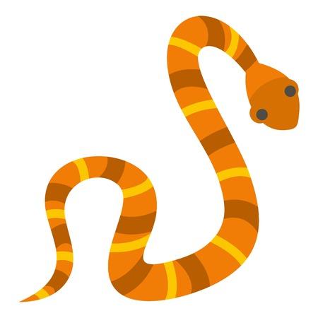 Orange striped snake icon isolated Illustration