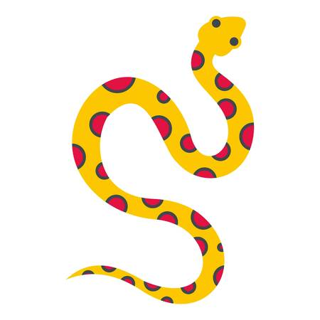 scale icon: Yellow snake with pink spots icon isolated