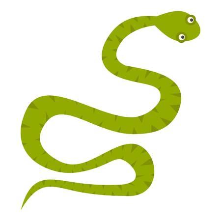Green snake icon isolated Illustration