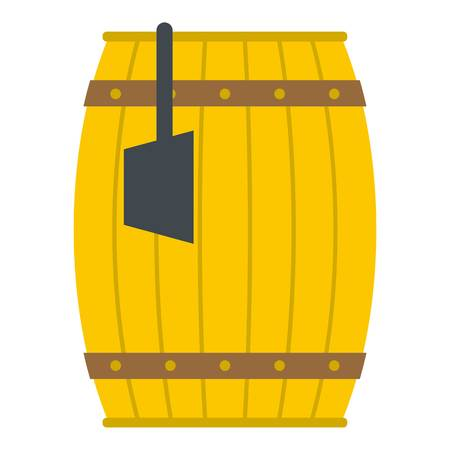 Wooden barrel with ladle icon isolated Illustration
