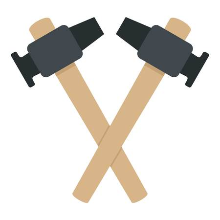 Crossed blacksmith hammer icon isolated
