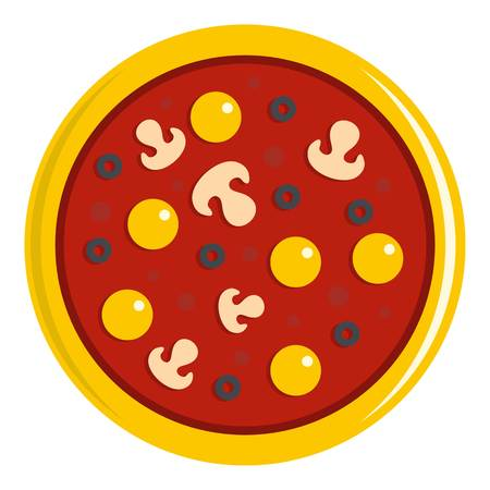 Pizza with yolk, olives, mushrooms, tomato icon