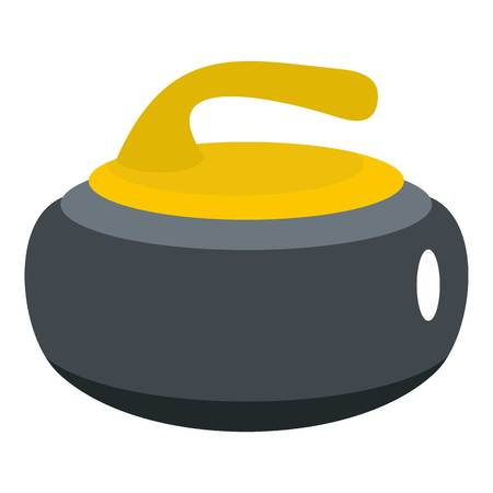 Curling stone with yellow handle icon isolated