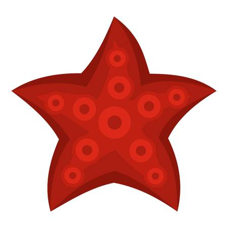 mollusc: Red starfish icon isolated Illustration