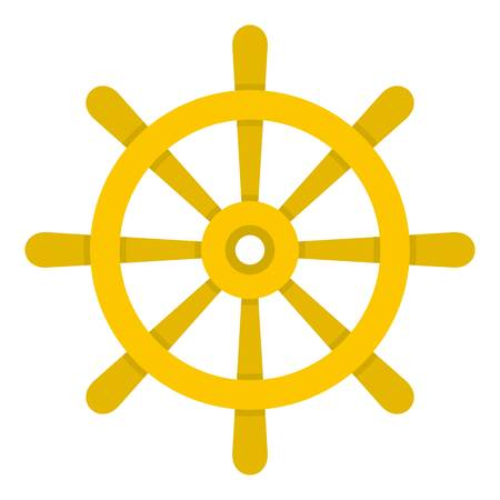 Wooden ship wheel icon isolated Illustration