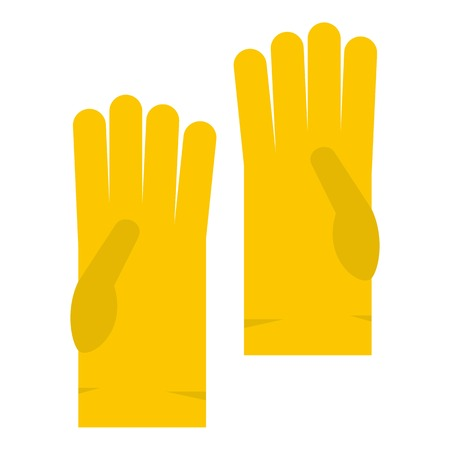 Yellow rubber gloves icon isolated Illustration
