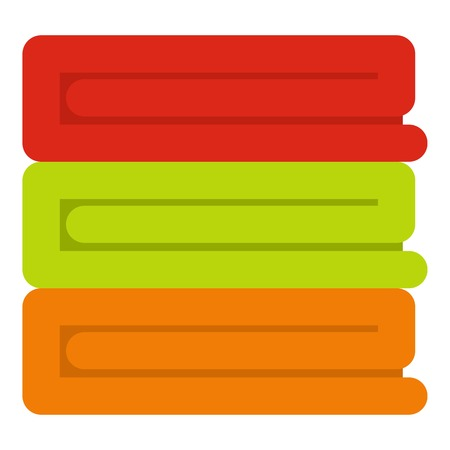 Stack of colored towels icon isolated