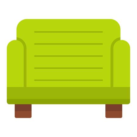 Green armchair icon isolated Illustration