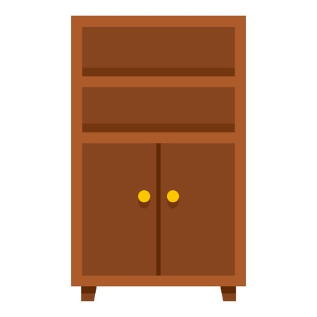 office furniture: Wooden cabinet icon flat isolated on white background vector illustration Illustration