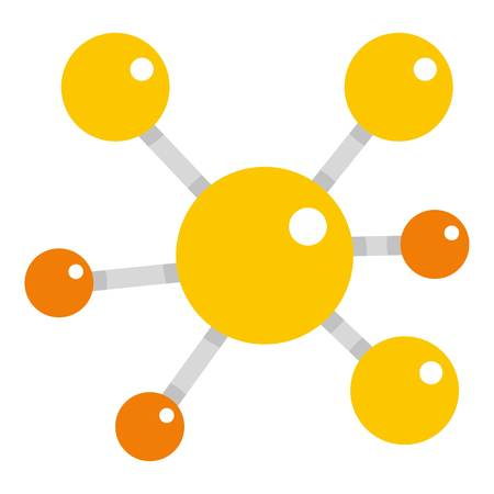 Yellow molecular model icon flat isolated on white background vector illustration Illustration