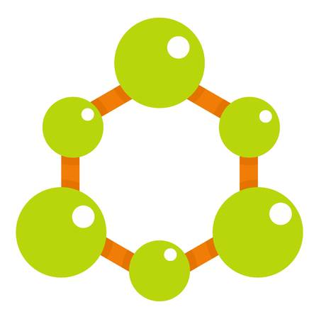 Green molecule structure icon flat isolated on white background vector illustration