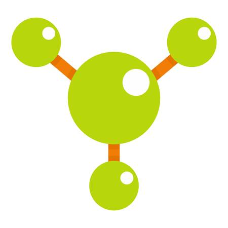 Abstract green molecules icon flat isolated on white background vector illustration