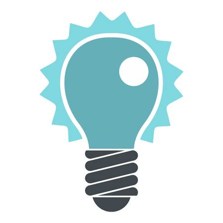 Blue electric bulb icon flat isolated on white background vector illustration
